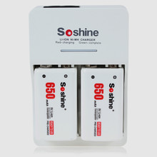 Soshine 9V battery quick charger Rapid Charger + 2pc Soshine 650mah 9V lithium-ion polymer rechargeable battery+ 2pc battery box