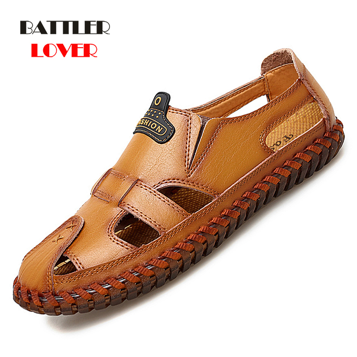 Fashion Summer Male Sandal Genuine Leather Men Casual Sandals Shoes Breathable Comfortable Shoes Roman Large Size 48