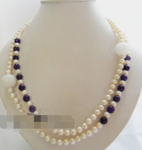 1635 white round freshwater pearl purple faceted stone necklace