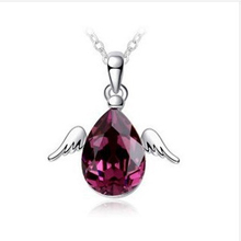 woman hottest angle wing Zircon choker necklace jewelery silver plated