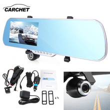 CARCHET Car GPS Navigation WIFI Rearview Mirror Camera DVR Full HD 1080P 5 Inch Touchscreen 8GB FM 140 Degree Wide-angle Android