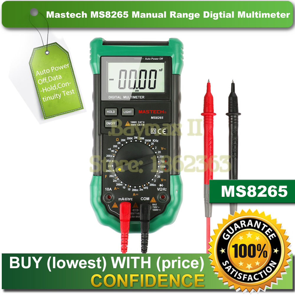 Mastech MS8265 Manual Range Digital Multimeter for AC/DC Voltage Current Test with Ohm Capacitance Frequency Measurement<br>