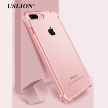 USLION Airbag Drop Protection Case For iPhone 7 Transparent Phone Cases Soft TPU Clear Back Cover Coque For iPhone 8 7 6 6S Plus(China)