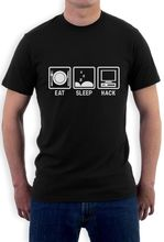 Top Tees Custom Any Logo Size Eat Sleep Hack - Hacker Computer Programmer Gift Idea T Shirt Fsociety Inspired Chinese Style