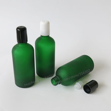 200 X 100ml Frost green glass roller bottle with glass roll on ball for aromatherapy oil & perfume use(China)