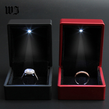 Promotion 50Pcs Deluxe PU Leather Black Paint Propose LED Lighted Engagement Diamond Ring Jewelry Box Organizer Wedding Gift Box