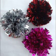Free shipping,metallic wrist pompom with elastic ,fan cheer leading pom poms,approx.55g.red,black ,green,blue,gold,silver(China)