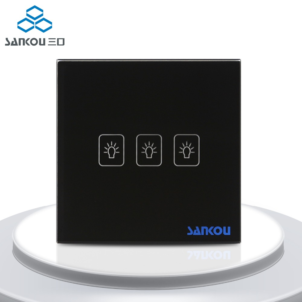 EU Wall Light Switches 3Gang2Way Electrical Touch Switch Luxury Black Crystal Glass Panel with LED Indicator AC110-250V<br>