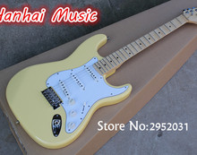 Hot Sale Custom Electric Guitar,Big Headstock,Scalloped Maple Neck,Logo on Bridge,Chrome Hardware,Cream Color,can be Customized