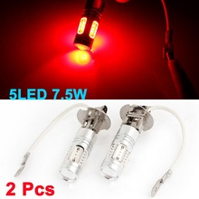 2PCS H3 7.5W Red 5 COB SMD LED Projector Lens Rear Foglight for Car Auto