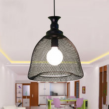 Nordic Industrial Retro Creative Personality Single Head Pendant Light Black Iron Net Shape Vintage Restaurant Cafe Lamp