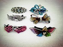 6 Pcs 6 Style New Shiny Rhinestone Crystal Barrettes Women Girls Prom Hair Clip Hairpins Hair Accessory