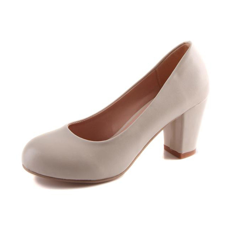 New 2017 Round Toe Thick Heels Women Pumps Fashion Shallow Mouth Slip-on High Heels Women Shoes Ladies Office Heels Size 34-43<br><br>Aliexpress