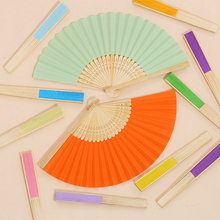 Wholesale Free Shipping 50pcs Plain DIY Multi-Colors Bamboo Frame Colorful Paper Folding Fan Home Decor Party Favor House Crafts(China)