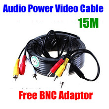Security 15m 49ft CCTV Cable RCA CCTV suveillance Camera Video Audio AV Power Cable(China)