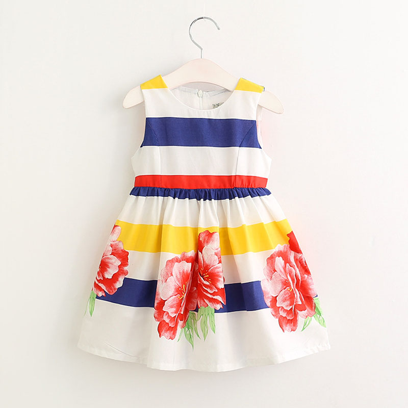 2017 Summer New Fancy Design Baby Dresses Colorful Striped Flower Printing Baby Girls Clothes Sleeveless Girls Dress 3-8 Years<br><br>Aliexpress