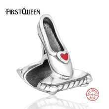 FirstQueen High Polishing Silver 925 Lady Shoe Beads With Austia Crystal Fits Most Popular Bracelets Bangles Fine Silver Jewelry(China)