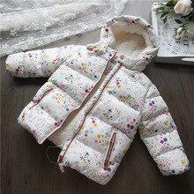 2018 Kids Winter Floral Woolen Girls Jacket&Coat Warm Fashion Children Girls Clothing Hooded Baby Girls Jacket Child Outerwear