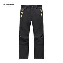 Ski pants hiking camping boy girl waterproof breathable soft shell thick pants the latest high quality(China)