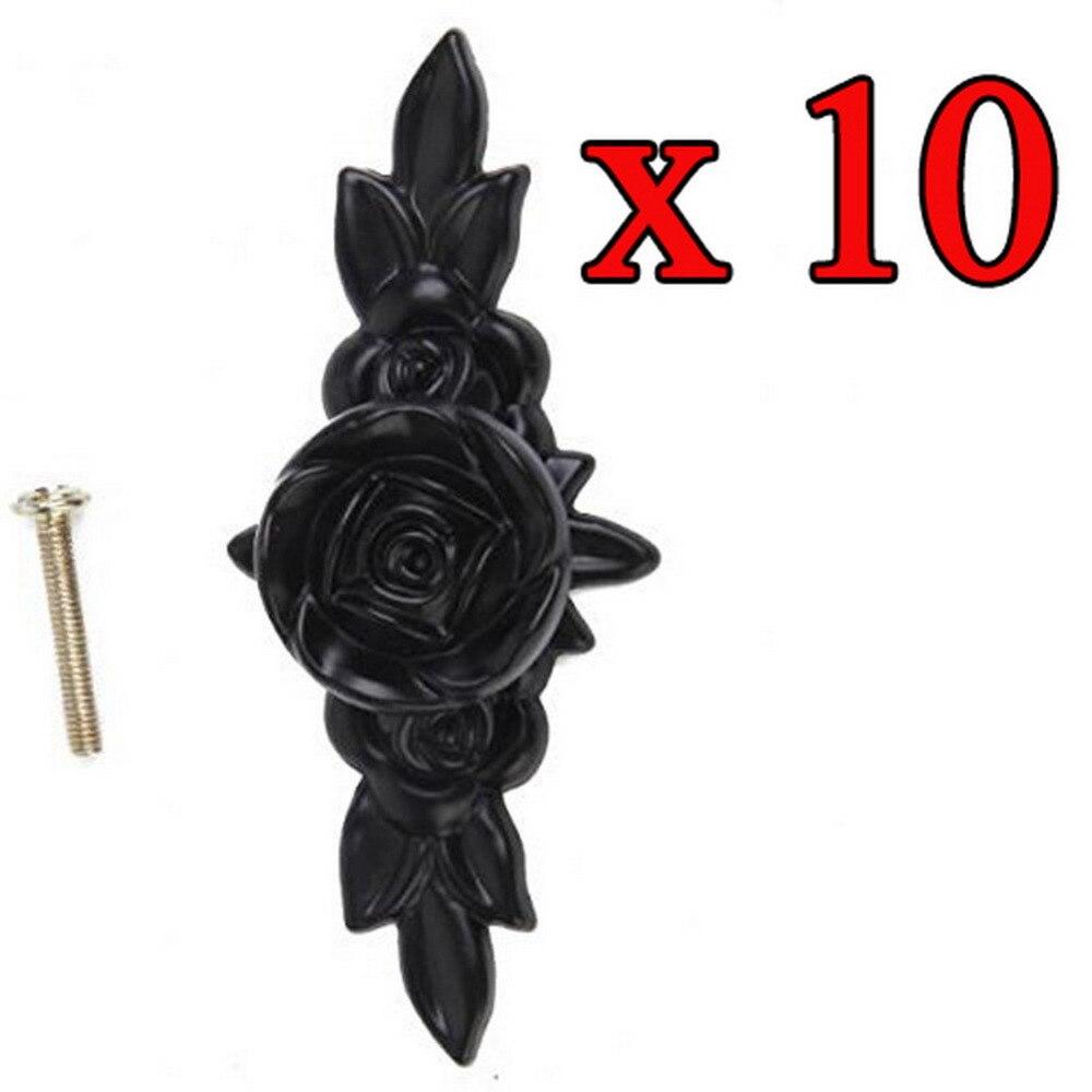 10pcs черные кнопки напряжения ручки ящика аппаратных средств шкафа мебели для кухни Роуз Флауэр