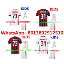2017 HOT SALES 2018 BEST QUALITY KIDS KIT AC MILANES SOCCER JERSEY + SOCKS 17 18 HOME RED AWAY GRAY MEN SHIRT FREE SHIPPING(China)
