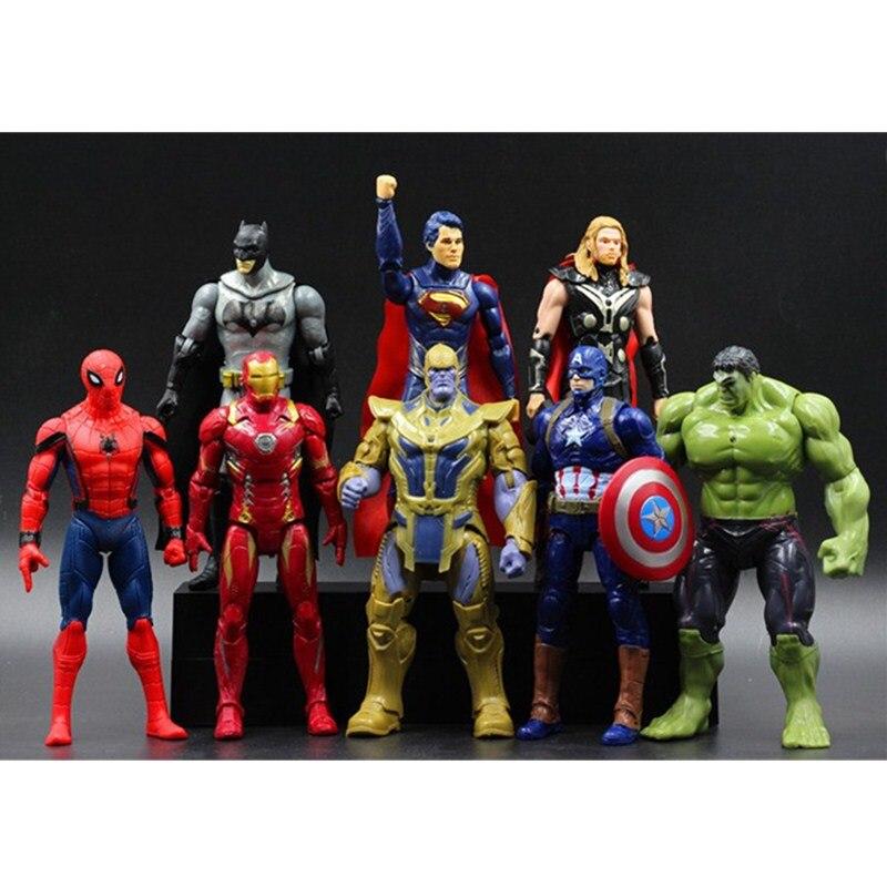 10CM Justice League Avengers:Infinity War Spider-man DC Comics Hulk Captain America Batman Thor 8pcs/set Action Figure Toy L1116<br>