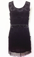 Lace illussion Neck Beaded Waist Tube Dressy Jazz 1920s 20s Flapper Girl Halloween Costumes Dresses for Womens Halloween Cheap
