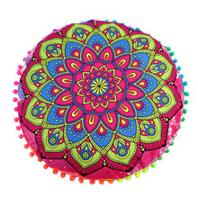 43cm Round Indian Mandala floral pillow cover Bohemian floral Cushion case covers fringe floor cushion pillowslip sale
