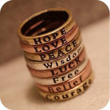 60PCS mixed styles Retro Wishing Rings HOPE LOVE LUCK PEACE BELIEF COURAGE WISDOM(China)
