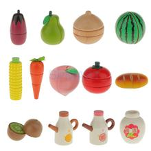 Wooden Magnetic Connected Fruit/Vegetable Kids Kitchen Cutting Food Pretend Play Toy(China)