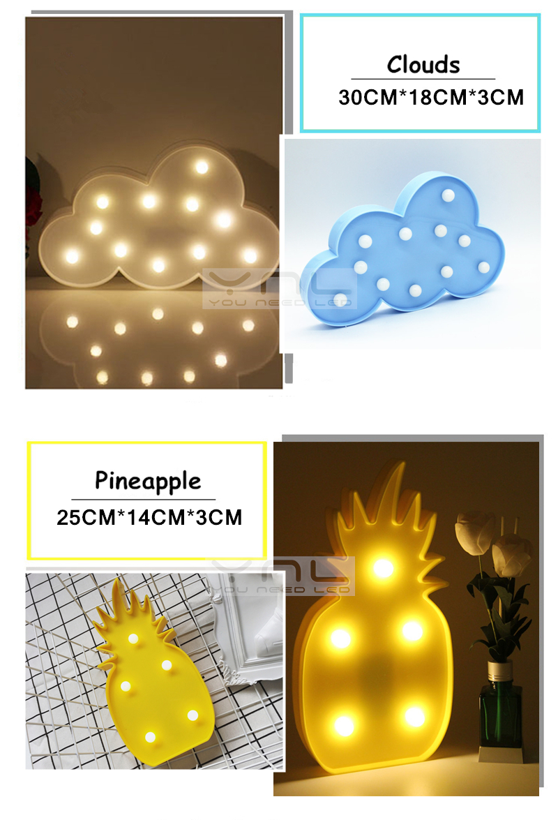3D LED Night Light baby ins Table Lamp Christmas Decor Romantic Children Flamingo Pineapple Cactus Star Cartoon LED Lamp