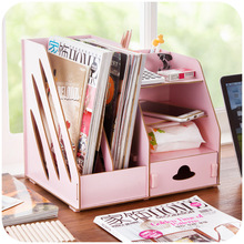 Creative DIY wooden storage box office files, desktop stationery drawers organize storage box(China)