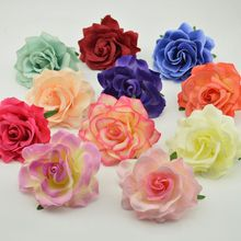 10cm 5pcs Artificial Flower Head Silk Blooming Roses For Wedding Car Decora DIY Garland material simulation cheap Fake Flower