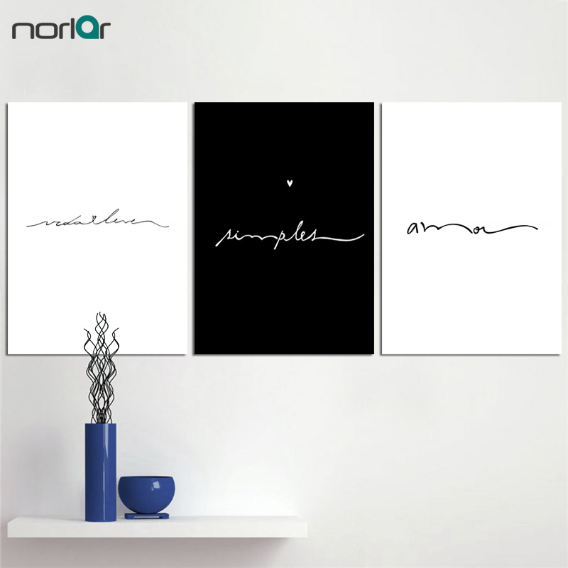 Minimalist Love Sign Word Art Black And White Poster Canvas Prints