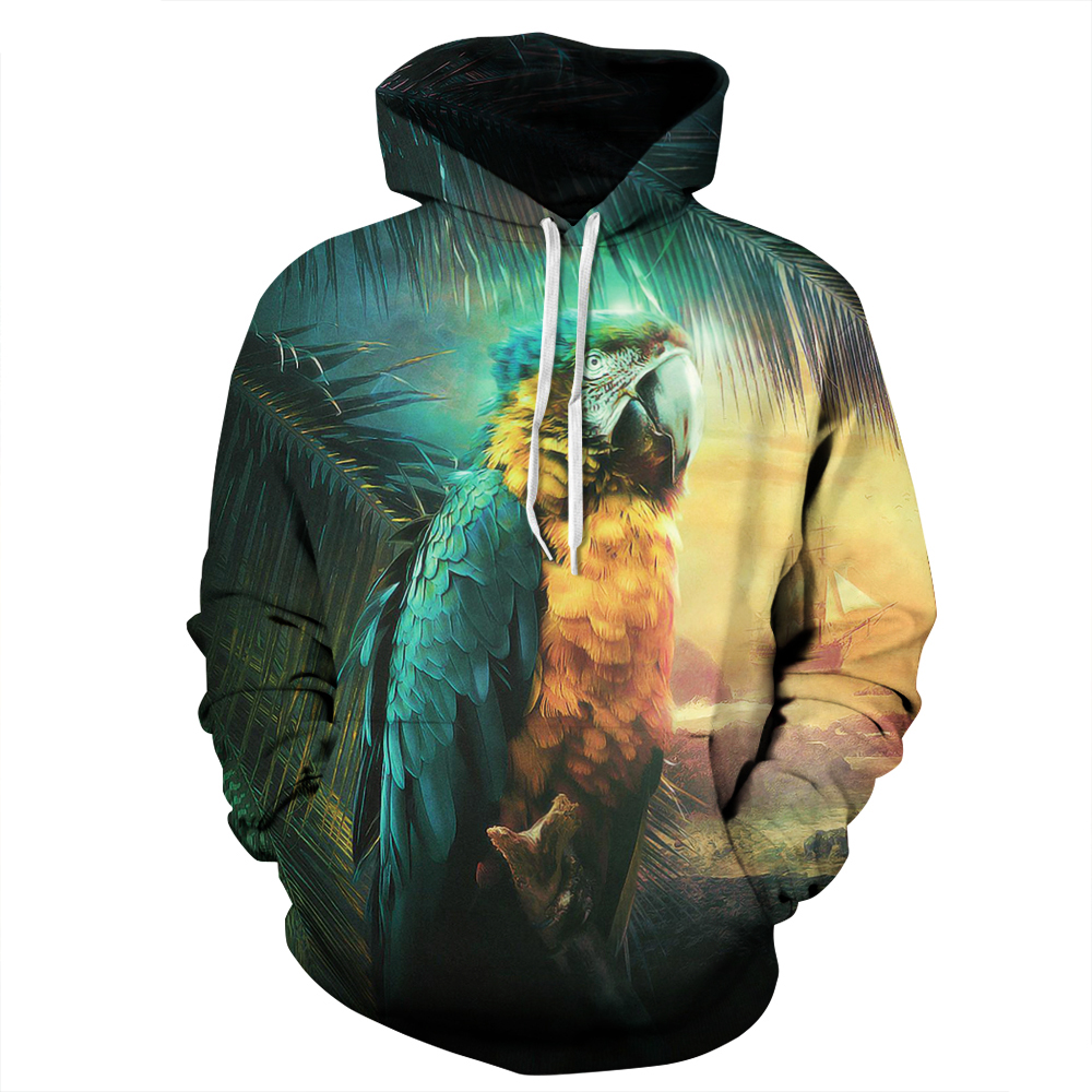 3D Colorful Parrot Printed Hoodie Sweatshirts Casual Men/Women Polyester/Cotton Autumn Tracksuits Fitness Sporting Hoody(China (Mainland))