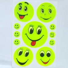 1 Sheet, Reflective sticker smile face sticker for school bag,scooter,kids toy,trolly,luggage any where visible safety  use
