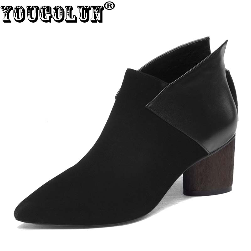 YOUGOLUN Women Ankle Boots Cow Suede Leather 2017 Autumn Thick Heel 6 cm High Heels Black Wine red Pointed toe Shoes #Y-004