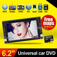 Double 2din Car autoradio GPS Navigation 2 din Car DVD Player with Bluetooth Stereo video+Camera+steering wheel+GPS Navigation(China)