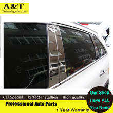 High quality stainless steel window trim strip 6pcs pillar For 2015 KIA Sorento high quality chrome stickers trim car styling Ca