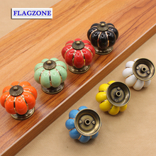 The children's room drawer pulls hands Modern style pumpkin shape cabinet handles Ceramic material lovely furniture fittings har(China)