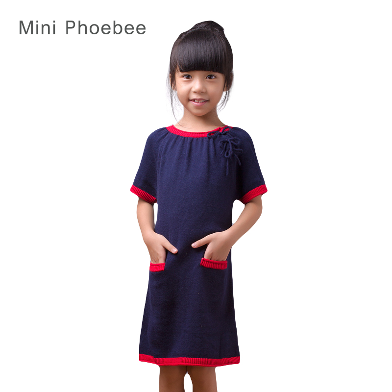 kids sweater dresses for girls 2-8years girls sweaters long blue dress autumn Short sleeve Blue girls kids dress brand phoebee<br>