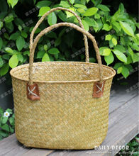 Handmade straw Dried flower baskets ( a big basket + a small basket ) 3 colors natural seaweed flower cestas free shipping