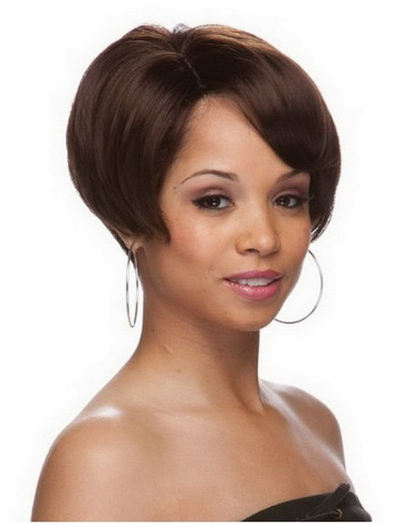 1PCS Newest Heat Resistant Synthetic Natural Short Brown U Part Wig For Black Women With Free Wig Cap<br><br>Aliexpress