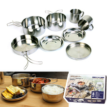 8PCS/SET Outdoor Protable Picnic Cooking Pots and Pans Set Folding Stainless Steel Camping Pot Set(China)
