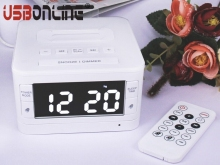 LCD Digital FM Dual Alarm Clock Music Dock Charger Station Mini AUX Bluetooth Stereo Speaker for iPhone Samsung mp3 music player