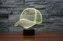 Colorful Acrylic LED Night Light MLB SEATTLE MARINERS Atmosphere Lamp 3D Baseball Cap Hat Illusion USB Table Lamp Gift