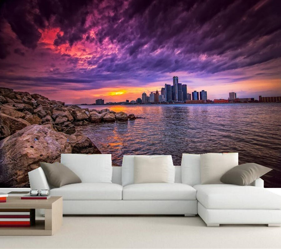 Skyscrapers Stones Sunrises and sunsets Sky Houses Rivers photo mural wallpaper,living room sofa TV wall bedroom 3d wallpaper<br>