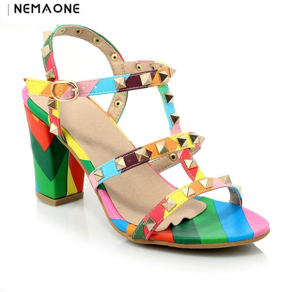 High Quality Brand Designer Rivet Shoes square Heels Sandals Sexy Women High Heels Sandals<br>