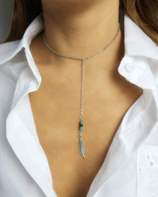 New Fashion accessories jewelry leaf feather dangle necklace gift  for women girl wholesale N1607