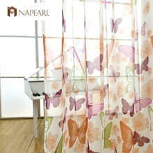 Butterfly curtains tulle fabrics bedroom sheer panel voile printed country style washable white tulle curtains kitchen window(China)